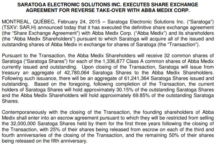 Canada House Wellness - The terms of the original Abba Medix reverse takeover deal.