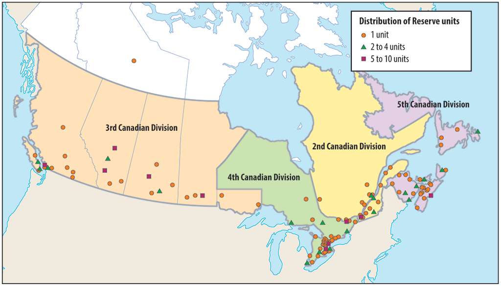 Distribution of Canadian Armed Forces reserve units.