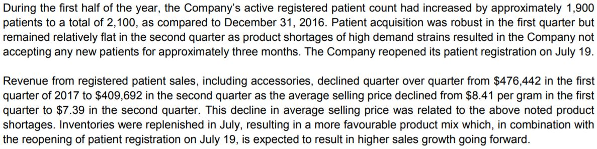 Snippet related to patient refusal from Emblem Corp's June 30 MD&A report.