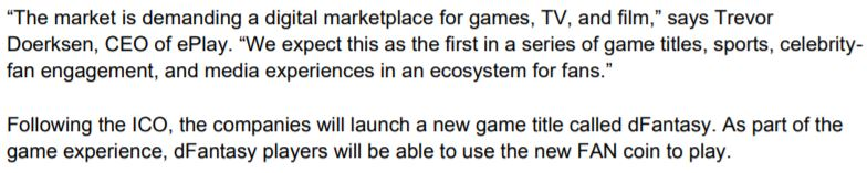 ePlay Digital's November 29, 2017 news release snippet related to the future purpose of the coin.