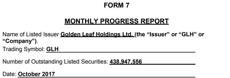 Golden Leaf Holdings form 7 filing for October 2017.