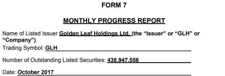 Golden Leaf Holdings form 7 filing for October 2017.