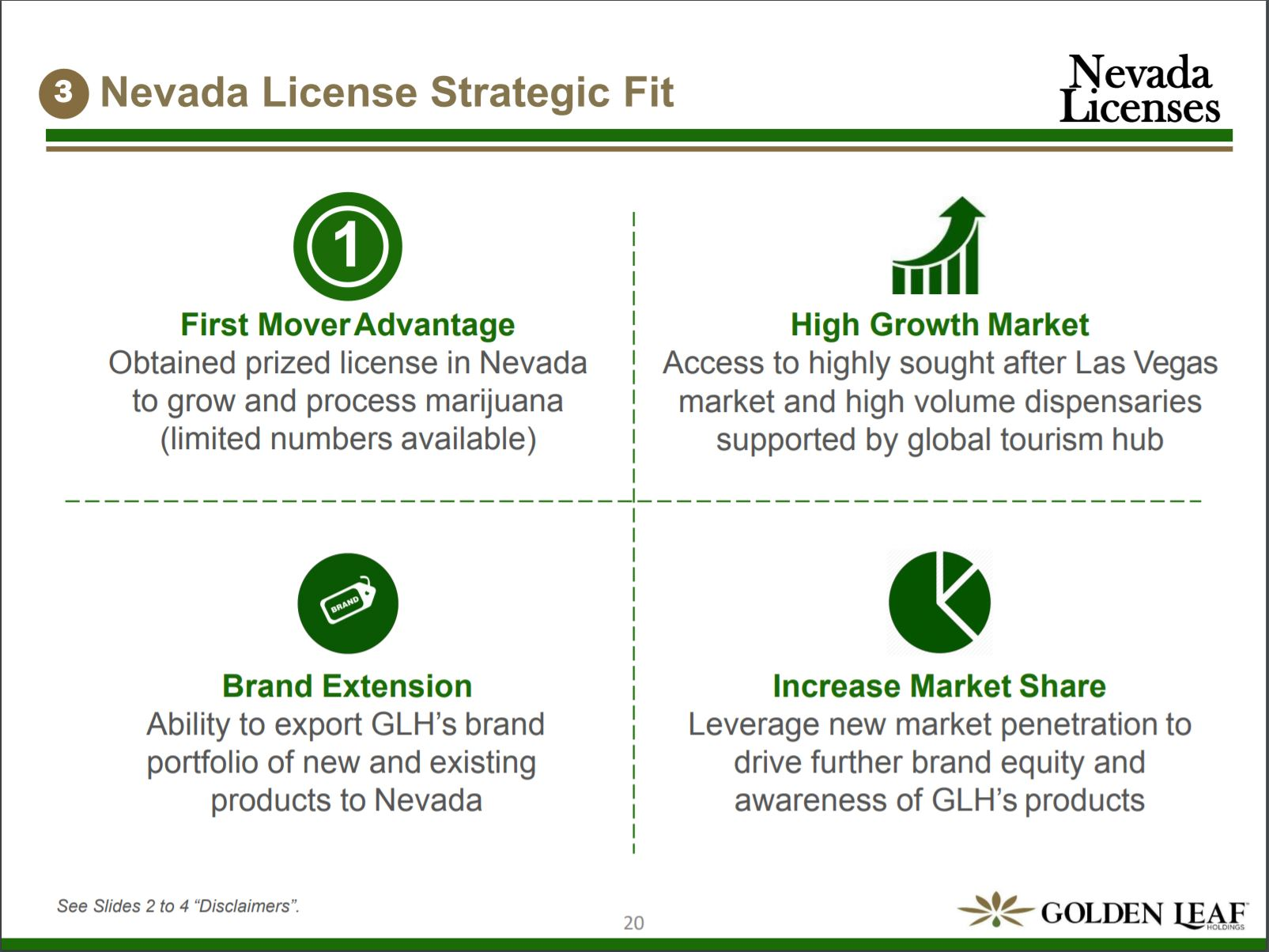 Slide 24 from Golden leaf's investor deck detailing the reasons for its Nevada expansion.