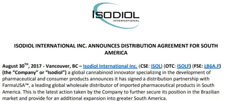 Isodiol International's August 30th, 2017 news release detailing its distribution agreement with FarmaUSA.