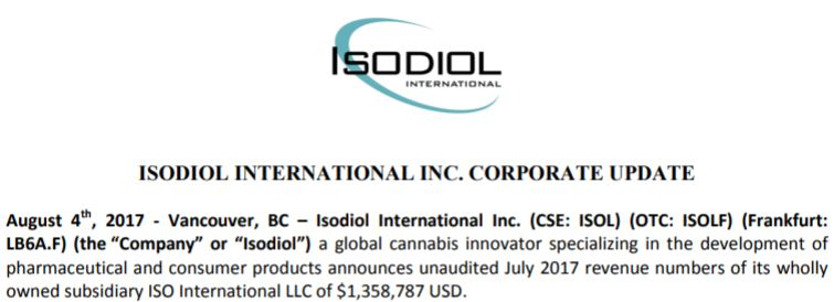 Isodiol International's August 4th, 2017 corporate update.