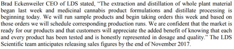 Comments by Lifestyle Delivery Systems CEO in their October 31 2017 news release.