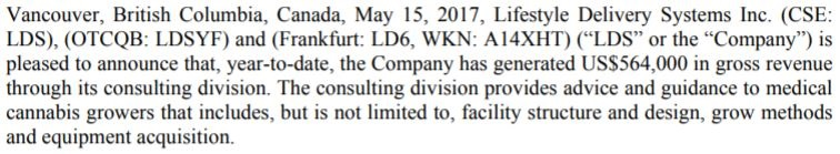 Snippet from Lifestyle Delivery Systems' May 15, 2017 news release.