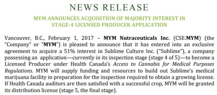 MYM Nutraceuticals Feb 1st 2017 news release regarding the Sublime Cultures acquisition.