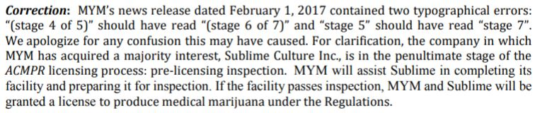 MYM Nutraceuticals Feb 8, 2017 correction to its Sublime news release.