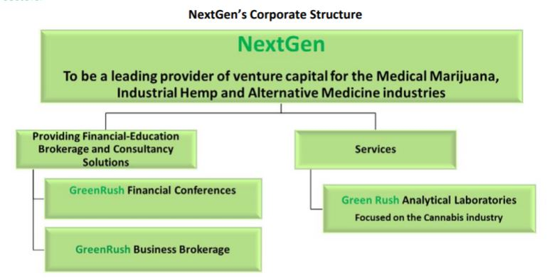 Namaste Technologies business structure as of June 23, 2014.
