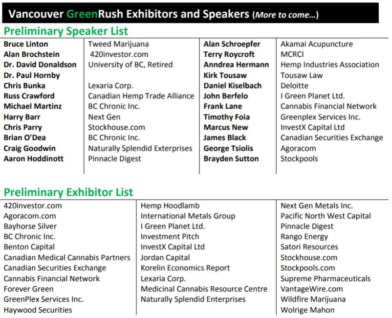 The exhibitor list for GreenRush's first conference held in Vancouver.