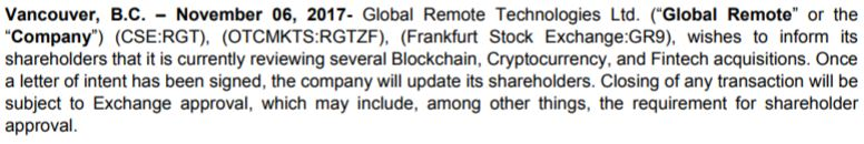 Global Remote Technologies' November 6th, 2017 news release.