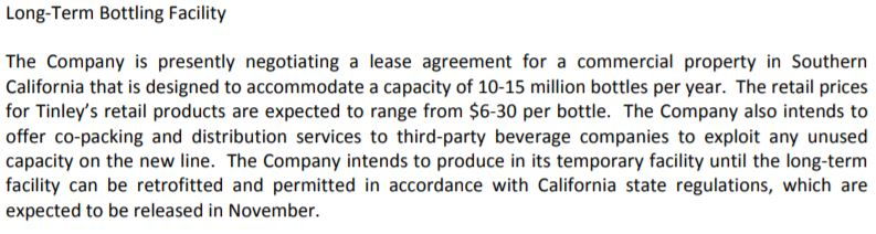 Tinley Beverage Co's October 25, 2017 news release referencing its bottling facility.