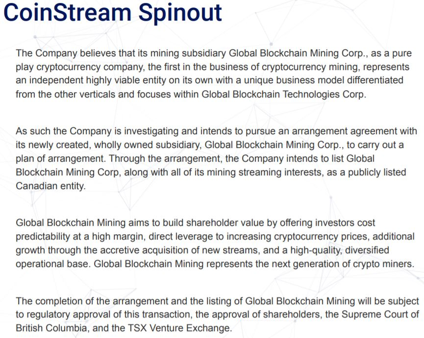 Snippet from slide 26 of Global Blockchain's investor presentation, outlining the benefits of the proposed spin out.