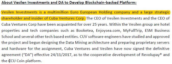 Cuba Ventures disclosure related to Vesilen Investments.