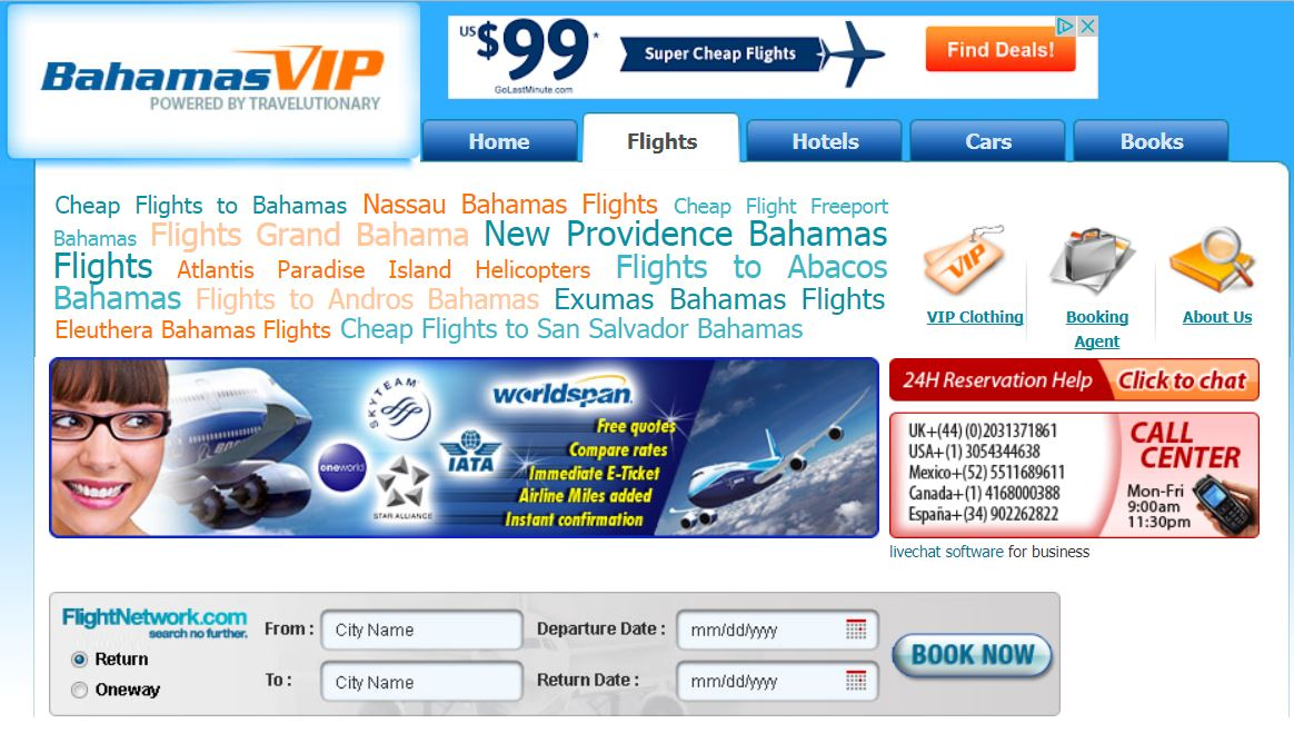 A screenshot of the Cuba Ventures owned website Bahamas VIP.