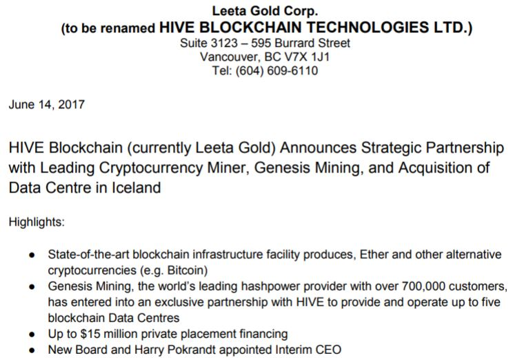 HIVE Blockchain's initial change of business announcement.