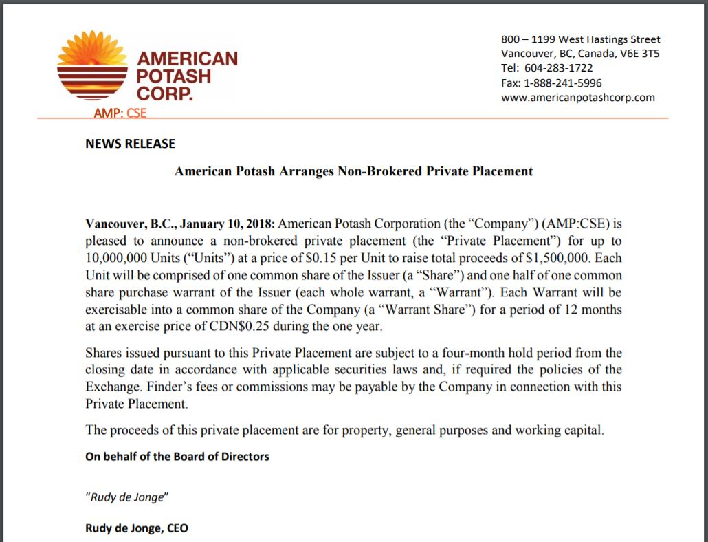 American Potash's hot off the presses private placement news release.