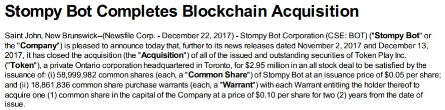 Stompy Bot's news release indicating its acquisition of Token Play had been completed.