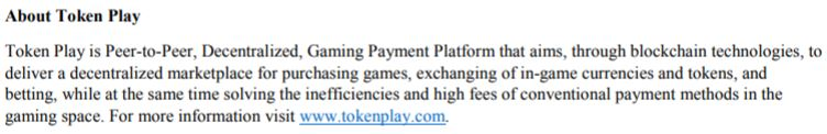 The news release blurb outlining the business of Token Play.