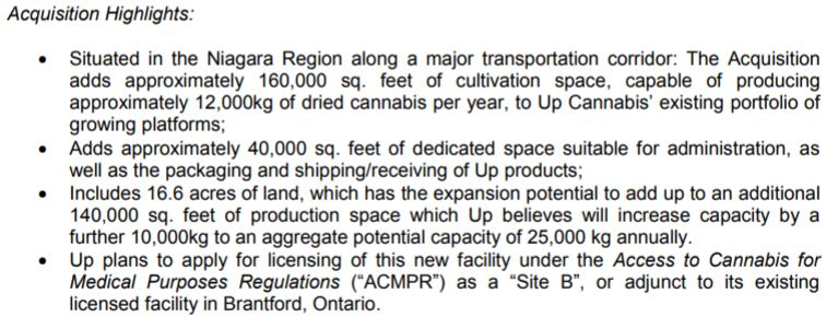 Details on the acquisition of Newstrike Resources' third cultivation facility.