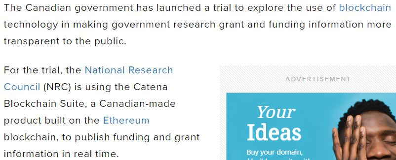 Snippet from a Global News article indicating the Government of Canada's trial with smart contracts.