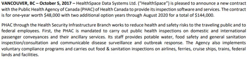 The details of the agreement between Health Canada and HealthSpace Data Systems