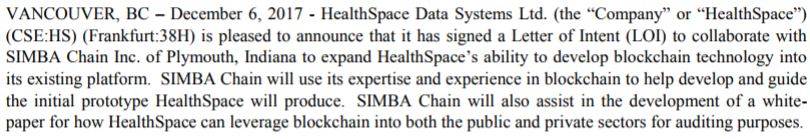 The December 6, 2017 news release pertaining to the letter of intent with SIMBA Chain Inc