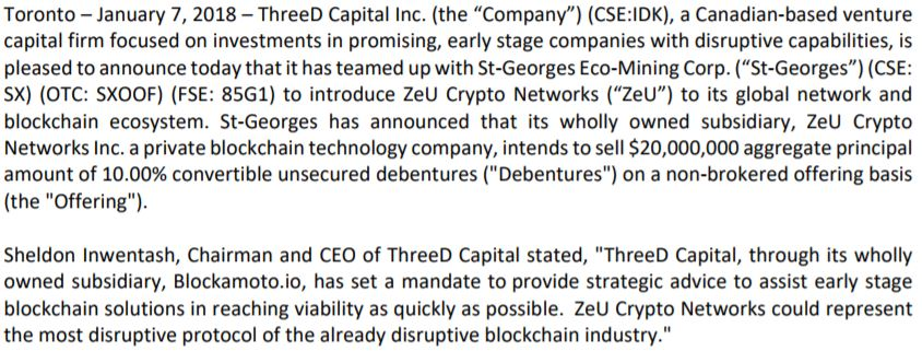ThreeD Capital's January 7, 2018 news release.