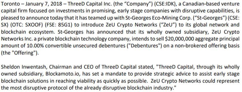ThreeD Capital's January 7, 2018 news release.