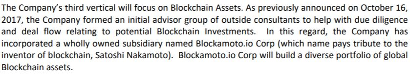 ThreeD's October 26 news release as it pertains to blockchain investments.