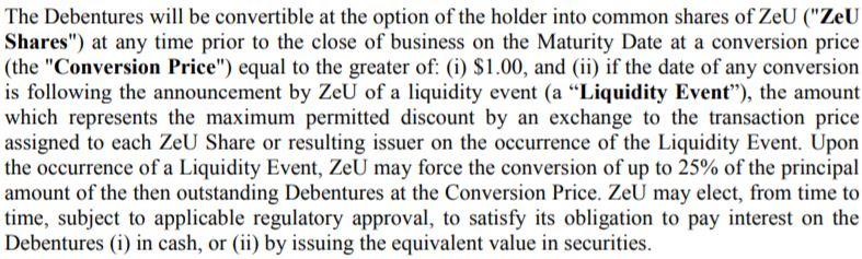 Details of the ZeU convertible debenture offering.