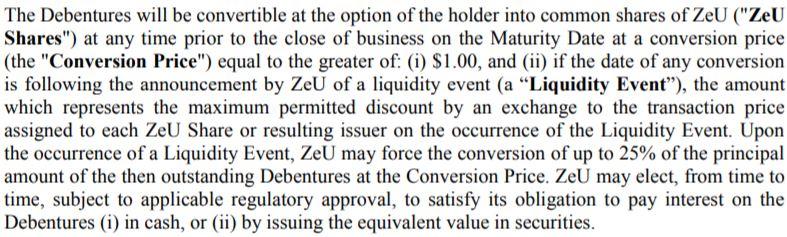 Details of the ZeU convertible debenture offering.