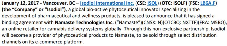 The basis of the agreement between Namaste Technologies and Isodiol.