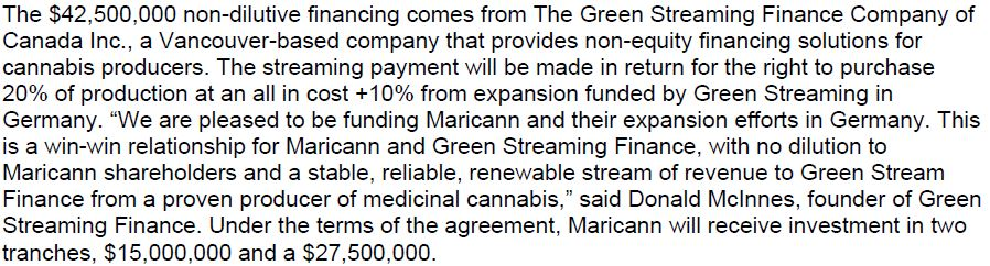 The terms of the financing from The Green Streaming Finance Company of Canada