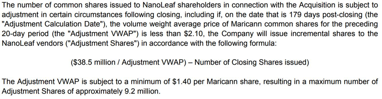 Potential share issuance revision related to the NanoLeaf acquisition by MariCann.