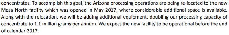 Snippet related to Arizona concentrate production found in the November 29, 2017 MD&A filed on SEDAR.