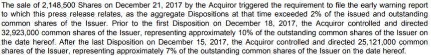 A snippet from a related news release on December 27