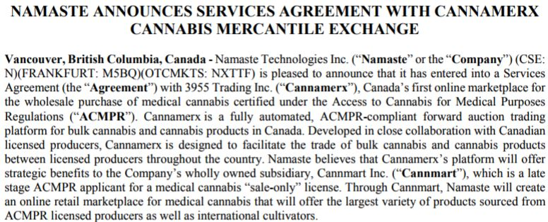 Service agreement between Namaste and Cannamerx.