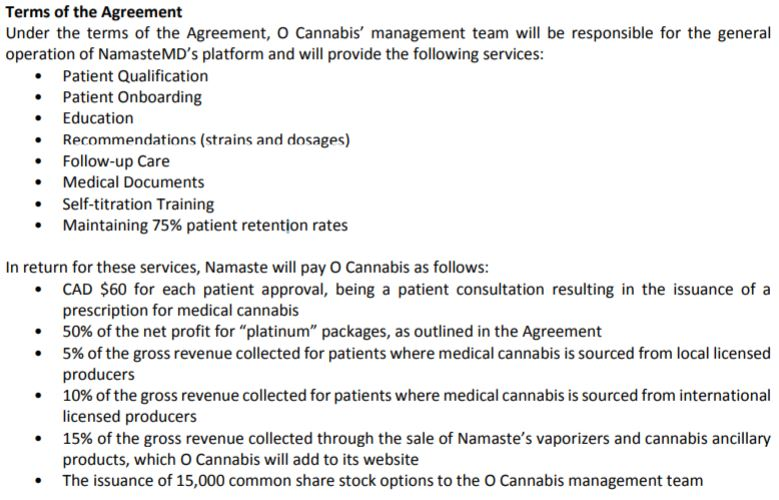 Terms of the agreement between Namaste Technologies and O Cannabis.