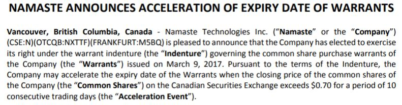 Namaste Technologies' release related to the forcing of warrants December 7, 2017.