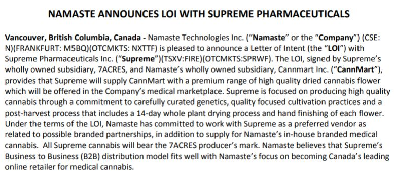 The letter of intent between Supreme Pharmaceuticals and Namaste Technologies.