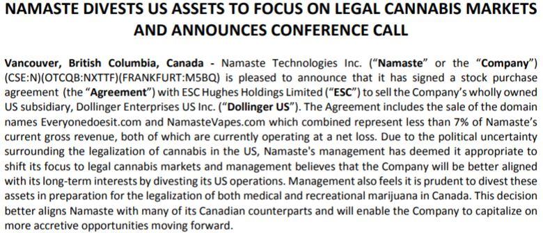 Namaste Technologies November 28 news release.