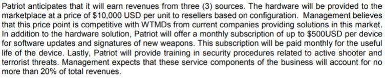 Patriot One's anticipated revenue streams. Snippet from MD&A filed on December 28, 2017.