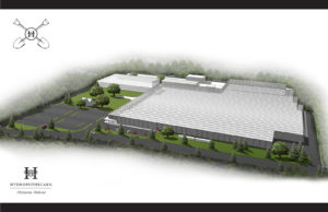 A rendering of the 250,000 square foot expansion of Hydropothecary's current facility.