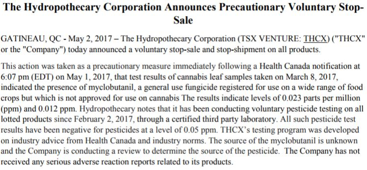 The news release pertaining to Hydropothecary's voluntary stop-sale of product.