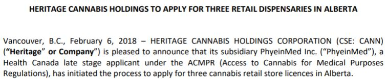Heritage Cannabis intends to vertically integrate itself through the use of dispensaries.