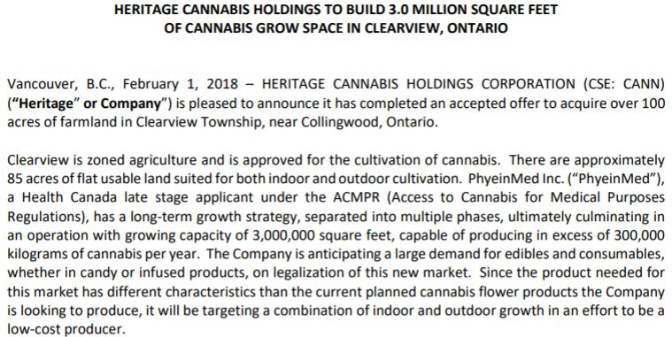 Heritage Cannabis' announcement of a new future facility.