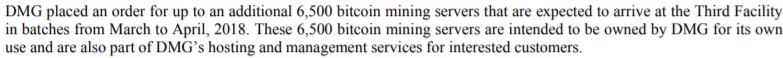 Snippet from page 43 of DMG Blockchain's filing statement.