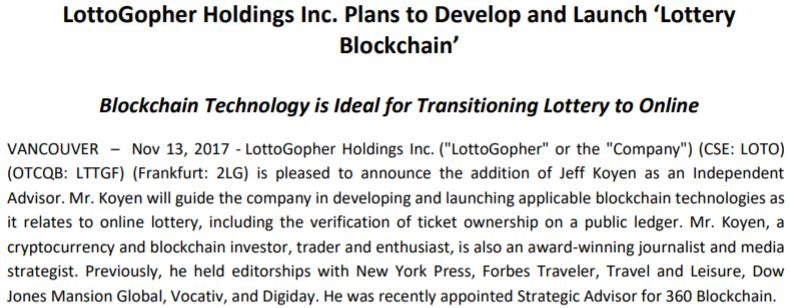 LottoGopher's formal entrance into the blockchain sector.